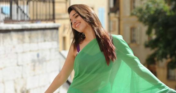 tamanna in green saree hot photoshoot