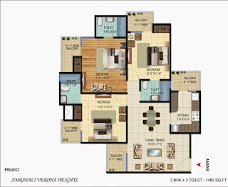 Amrapali Verona Heights :: Floor Plans 3 BHK + 3T