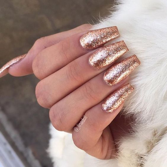 Stunning Rose Gold Nails