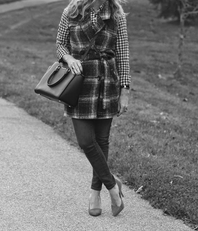 jcrew factory plaid shirt, JOA plaid vest, jcrew jeans, madewell heels, michael kors handbag