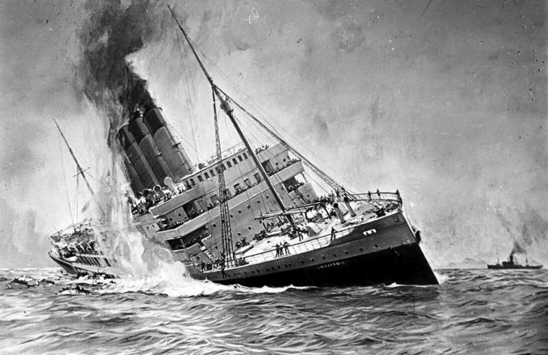 Drawing of the sinking of the Lusitania