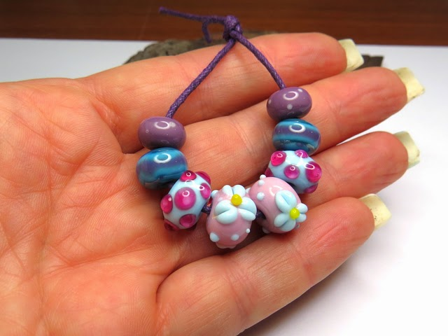 SagaBeads - pink,purple, light blue