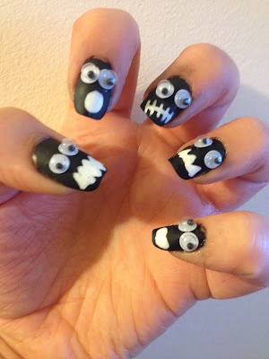 Matte Halloween Monster Nails