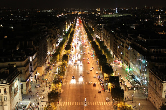 The busy shopping street, Avenue des Champs-Elysees in Paris, France