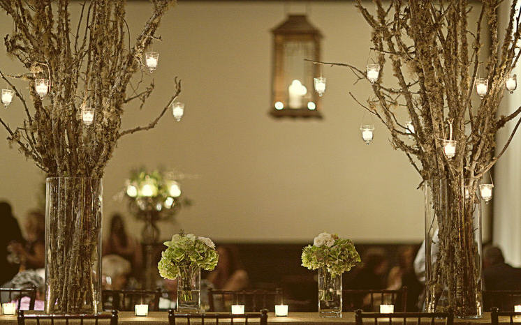 Rustic Tree Branch Wedding Centerpieces