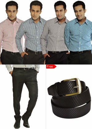 Homeshop18 : Super Deal of 4 Shirting & 1 Trouser – Mafat lal & Free belt at Rs.999 : Buy To Earn