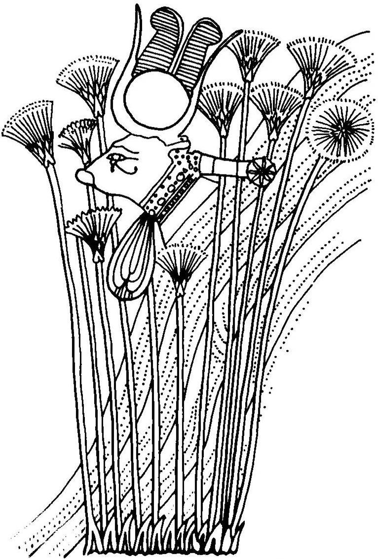 رسم يوضح حتحور وهى تخرج من الجبل وسط البرارى