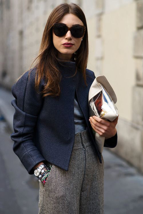 fall style inspiration, structured pants, street style, clutches