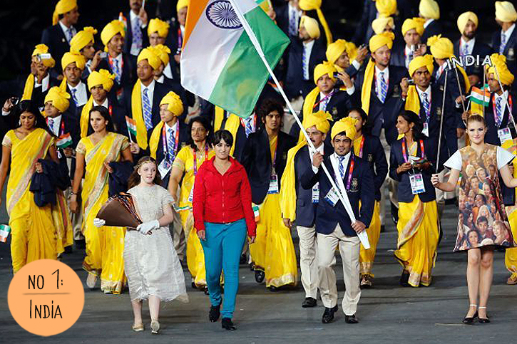 Olympic Fashion at the London 2012 Opening Ceremony, Indian turbans and Sari, Parade of Nations India Best dressed, Olympic fashion