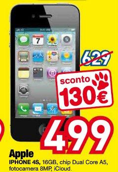 Nel gruppo Derta Euronics sconto di 130 euro e un prezzo finale di 499 euro per l'iPhone 4s 16 GB