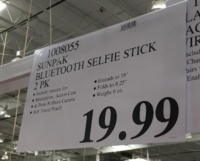 Deal for a 2 pack of Sunpak Bluetooth Selfie Sticks at Costco