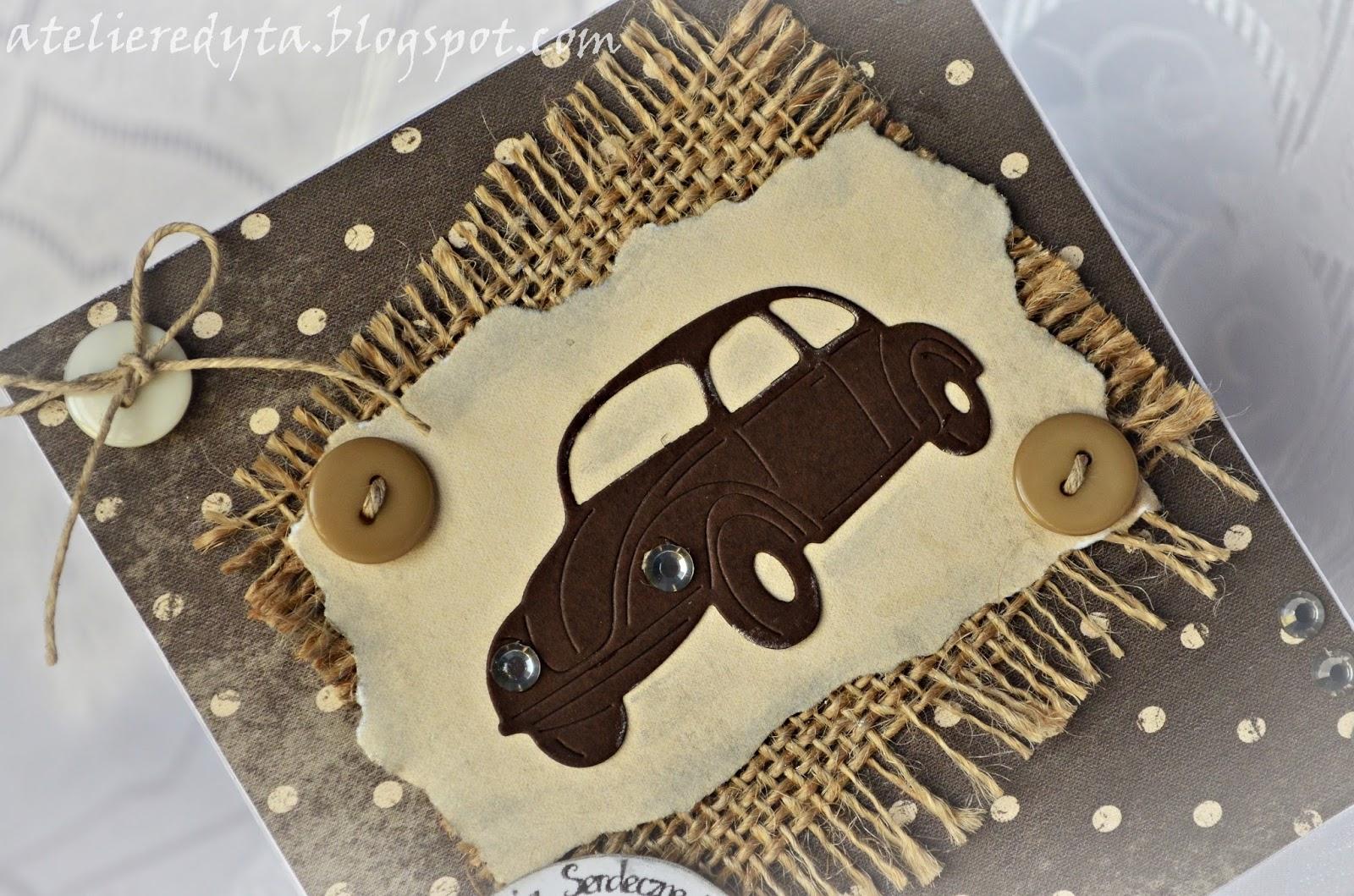Ręcznie robiona kartka dla faceta z samochodem
