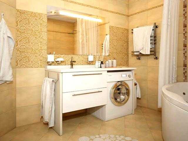 A washing machine in the kitchen or in the bathroom for Small bathroom designs with washing machine