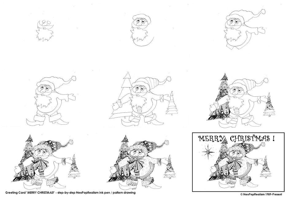 how to draw a christmas scene step by step