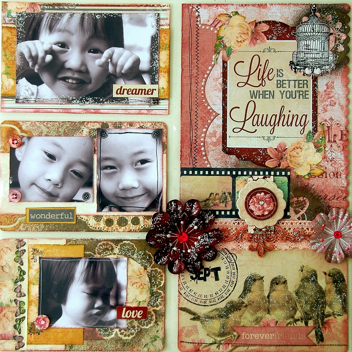 Life Is Better When You're Laughing Misc Me by Irene Tan using BoBunny Madeleine Collection
