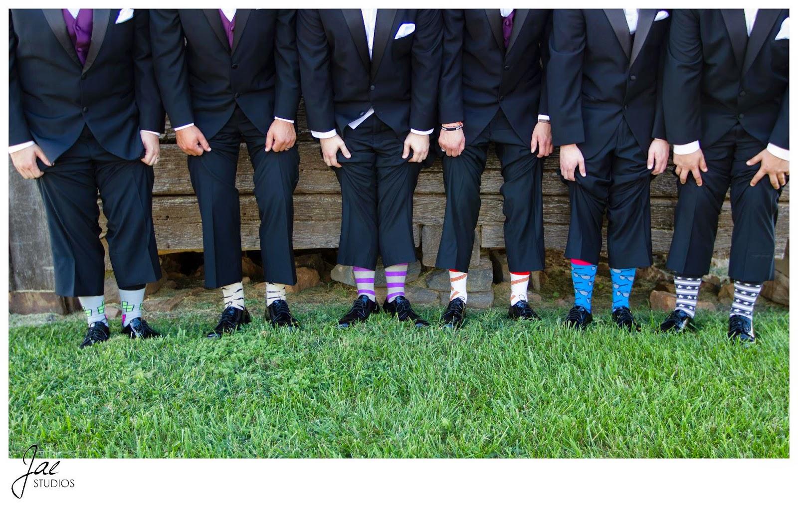 Jonathan and Julie, Bird cage, West Manor Estate, Wedding, Lynchburg, Virginia, Jae Studios, groomsmen, best man, groom, grass, socks, colorful, stripes, patterned, green, gray, purple, yellow, blue, red, tuxedo