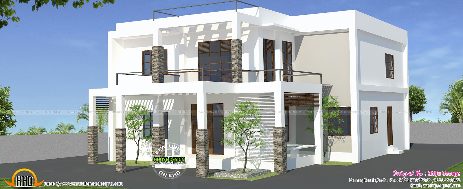 204 Sq M Flat Roof Style House Kerala Home Design And