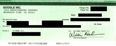 A check issued by Google Adsense | www.withjim.in