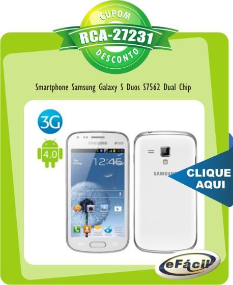 Cupom Efácil - Smartphone Samsung Galaxy S Duos S7562 Dual Chip