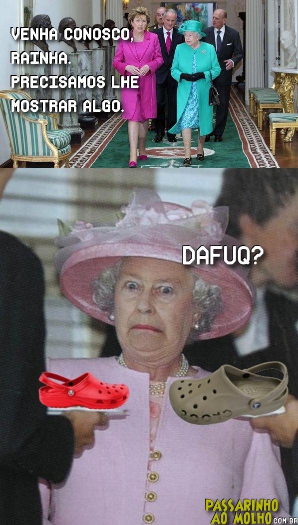 rainha elizabeth, crocs, dafuq