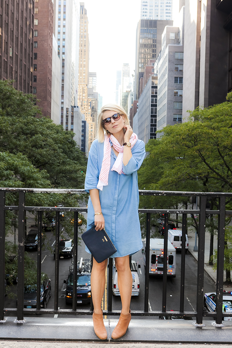 Tudor City overpass, New York City, chambray shirtdress, SOLO Eyewear square sunglasses, Monogrammed leather clutch, vintage Omega Seamaster watch, Brika coral arashi sibori scarf