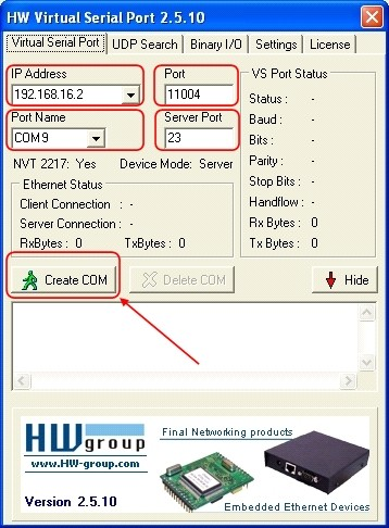 HW Virtual Serial Port 2.5.10 and the required information entered before creating the Virtual COM.