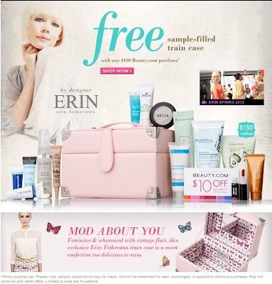 Beauty.com Erin Featherson Free Train Case and beauty sample offer