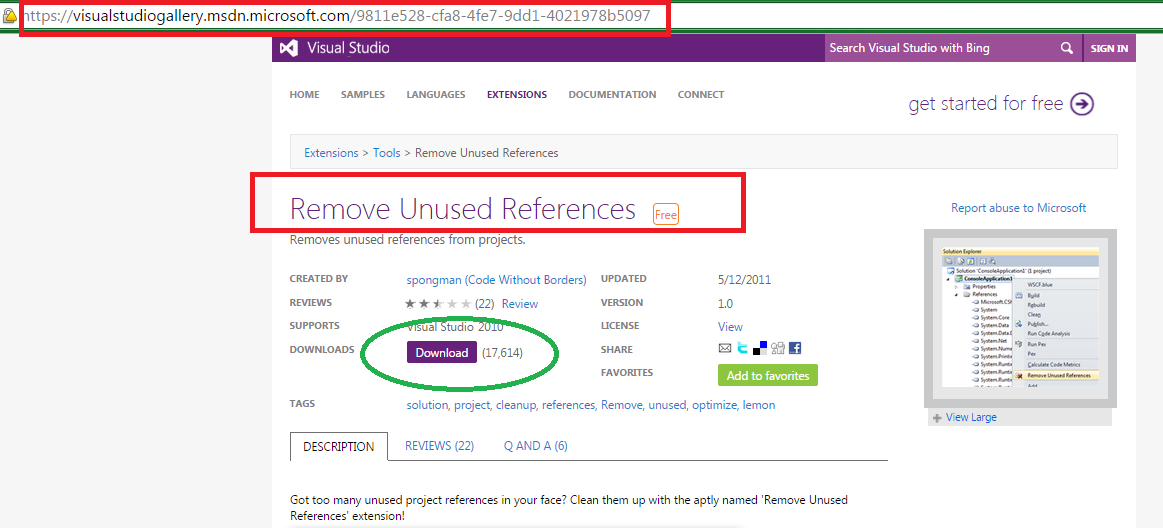 Remove unused references from C sharp projects in Visual Studio