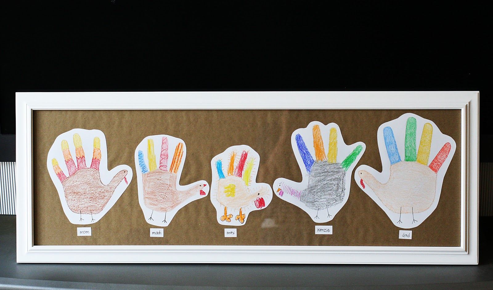 Hand print turkey family eighteen25 for Family arts and crafts