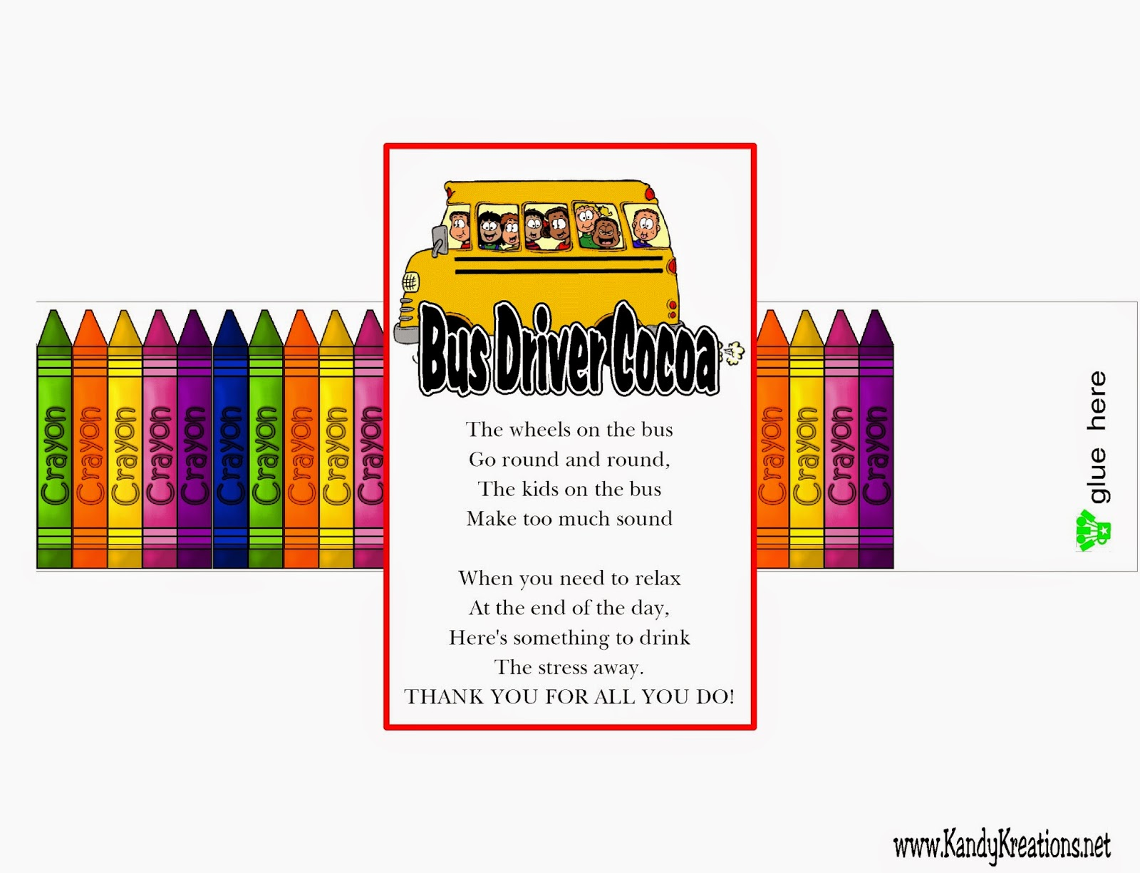 Bus Driver Cocoa Printable: Teacher Appreciation Gift ...