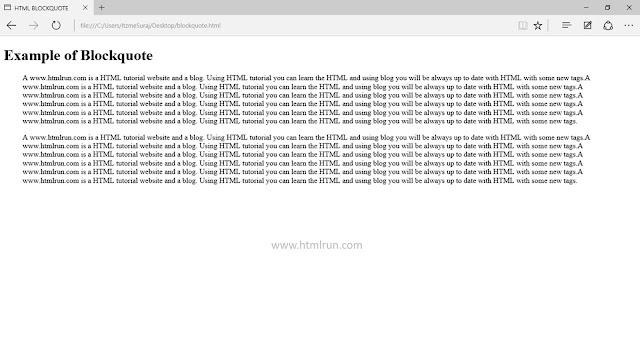html blockquote tag
