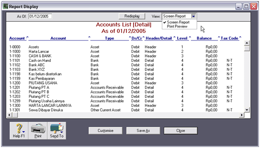 Contoh tampilan layer Account List [Detail] – Screen Report