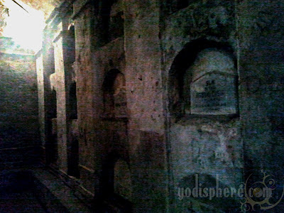 Rows of tombs at the underground cemetery