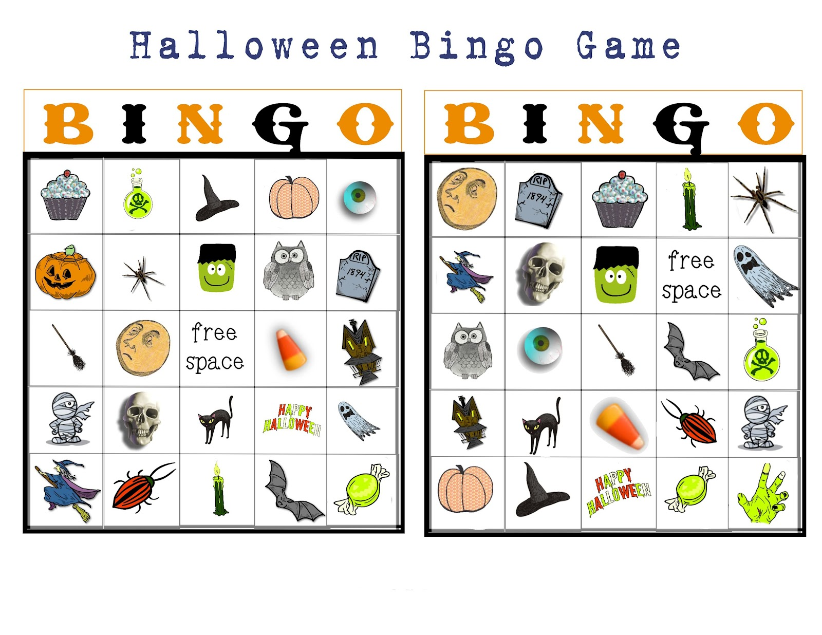 example each sheet has two printable bingo cards - Preschool Halloween Bingo