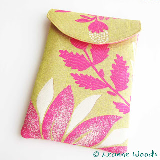 Handmade Designer Kindle Case in Honey Gold and Flambe Pink for Kindle Kobo and Nook ereader and ebook by Leanne Woods Designs