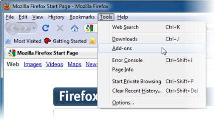 Menu Tools browser Mozilla Firefox