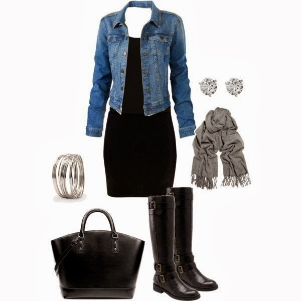 Denim jacket hand bag long boots with black mini dress