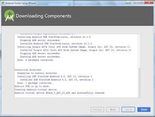 Install android studio sampai selesai update otomatis, sebelum mulai membuat aplikasi.