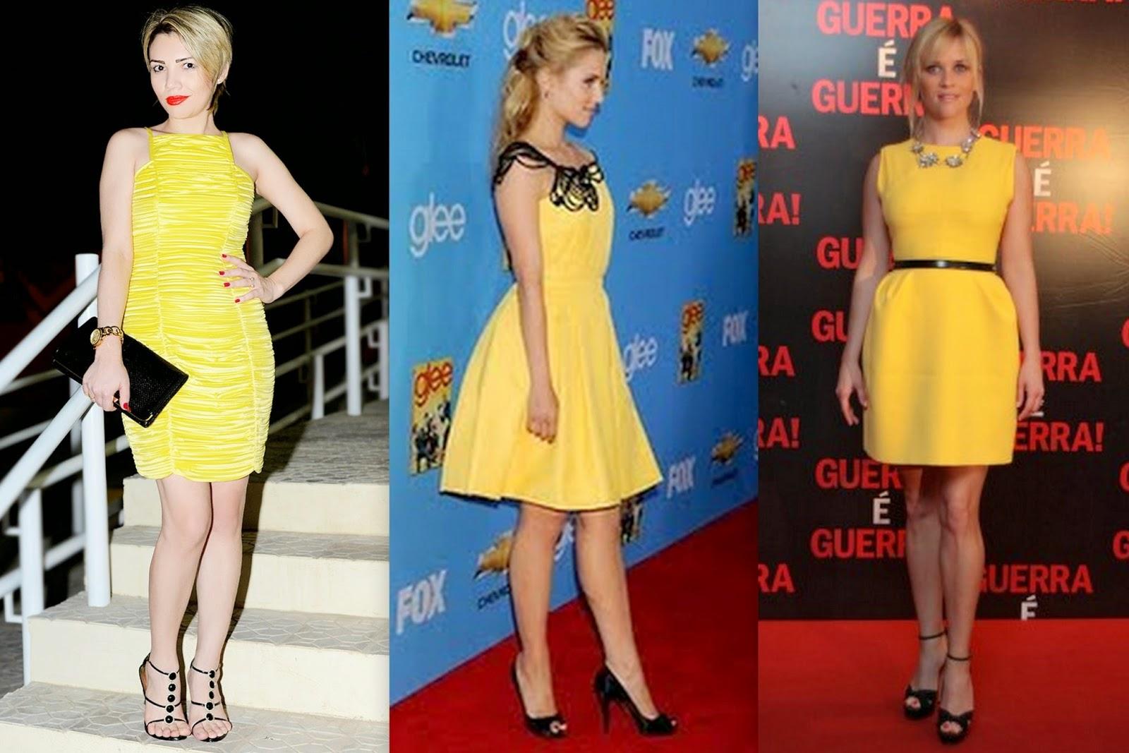 Vestido azul e preto ou amarelo