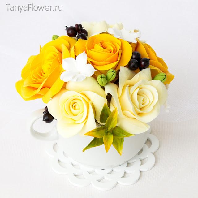 цветы ручной работы из полимерной глины на заказ