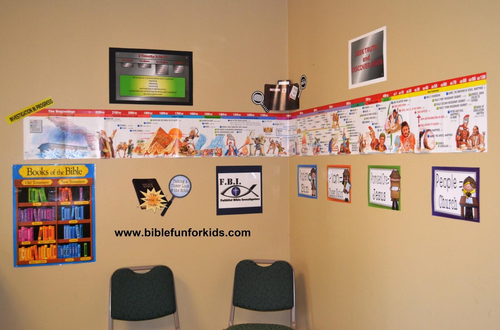 Classroom Timeline Ideas ~ Bible fun for kids fbi classroom decorating ideas