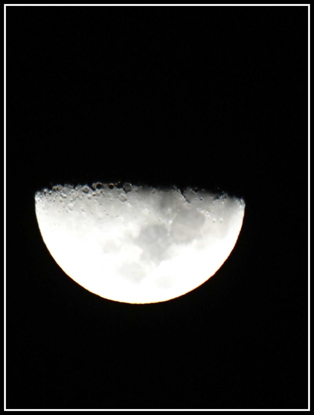 Beautiful half moon at night close up photography