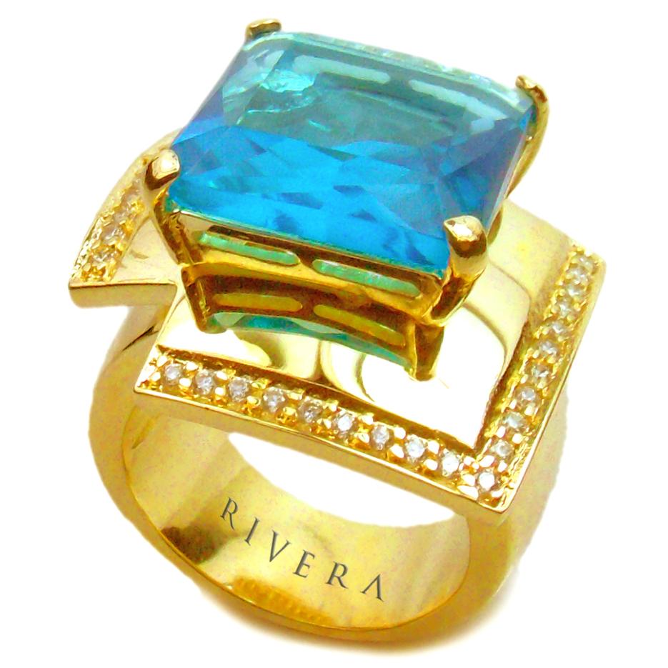 aneis com pedras naturais azuis semijoia