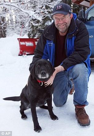 Ed Davis com sua cachorra Madera. (Foto: Reprodução / Daily Mail UK)  Leia mais: http://portaldodog.com.br/cachorros/noticias/cachorra-cega-sobrevive-apos-passar-14-dias-perdida-no-alasca/#ixzz3TPWSmcTN  Follow us: @PortaldoDog on Twitter | portaldodog on Facebook