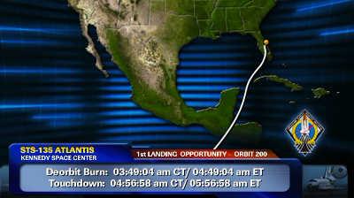 Atlantis – STS135 –Trajectory of the first landing option was selected as the landing path for this mission with a touchdown calculated at 5:56am US Eastern Time. NASA-TV 2011.