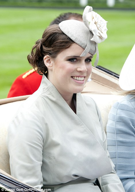 pretty Princess Eugenie in dove grey outfit and a hat by Robyn Coles on Ladies' Day of Royal Ascot 2014