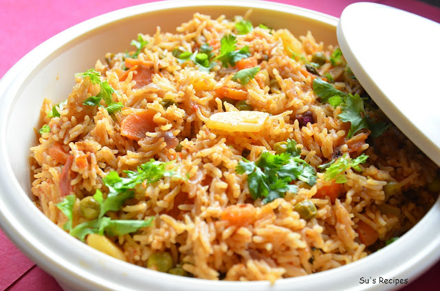 vegetable pulav, vegetable rice, vegetable fried rice, colorful rice, peas and carrot rice, vegetable biryani, pulao in pressure cooker