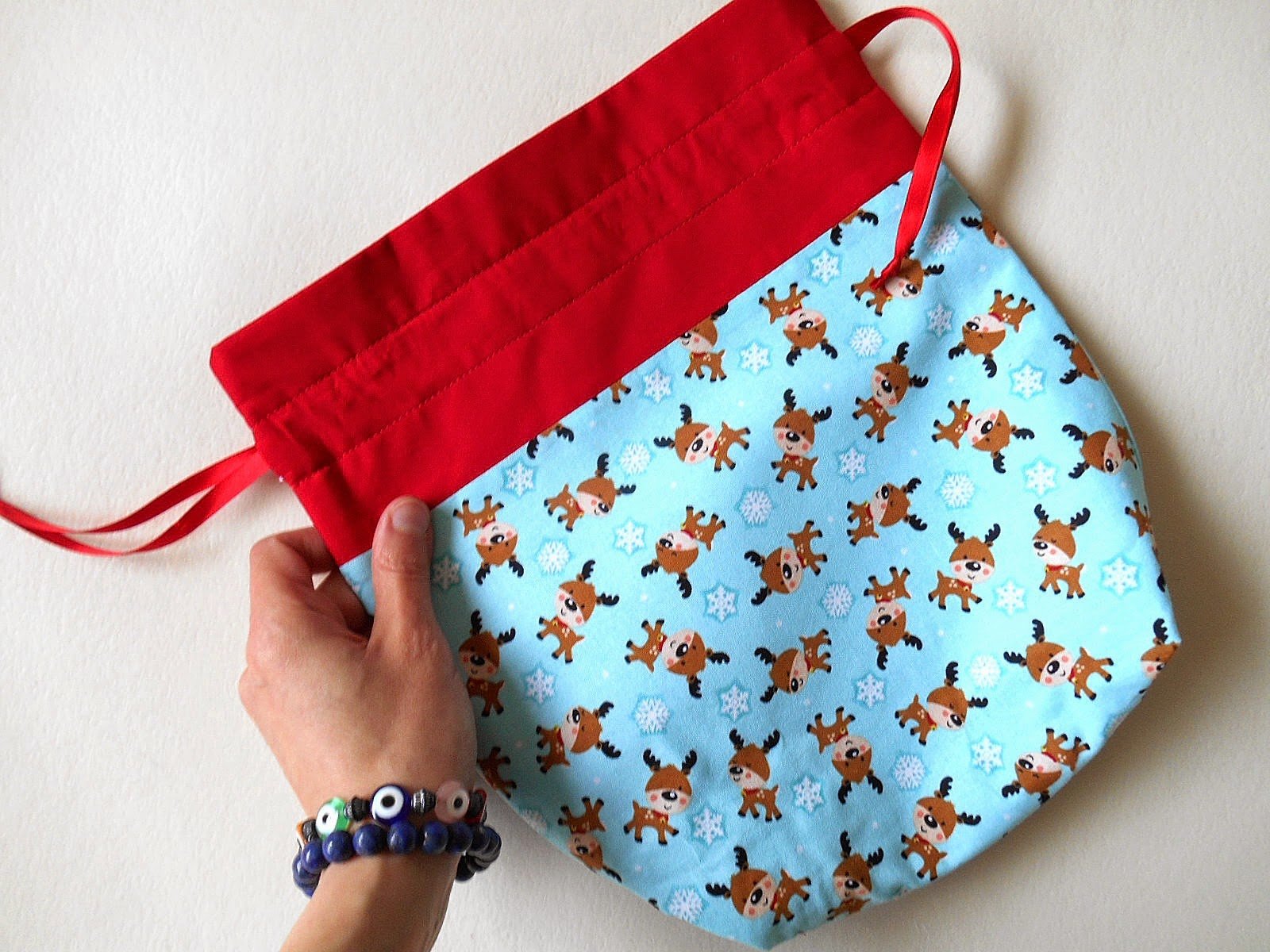gift bag reindeer aqua and red holiday decor