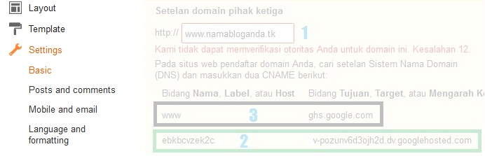 Cara Terbaru Setting CNAME Domain DOT TK GQ CF GA ML Freenom Di Blogger 2016