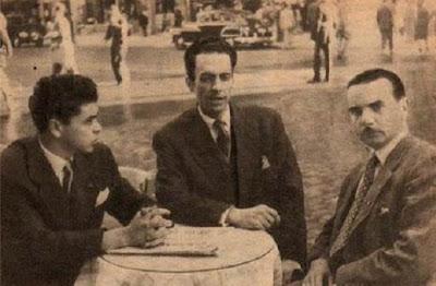 Los ajedrecistas Joaquim Durão, Francesco Lupi y Silvério Pereira en 1952